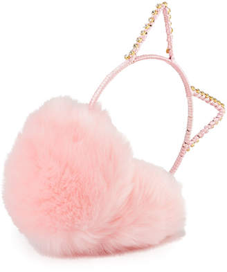 Berry Jewelry Cat Ear Crystal Earmuffs, Pink