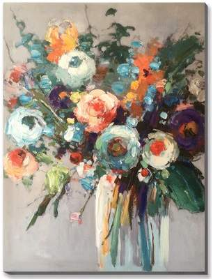 Winston Porter 'Bright Floral Bouquet in Vase' Acrylic Painting Print on Canvas
