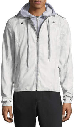 Jakett Contrast-Hooded Zip-Front Moto Jacket, Light Gray