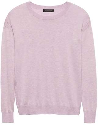 Banana Republic Silk-Cotton Pointelle Crew-Neck Sweater