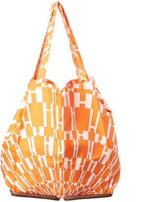 Hermes Orange & White H Print Silky Pop Tote