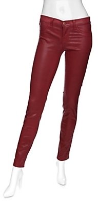 J Brand Exclusive Super Coated Skinny Jeans: Red