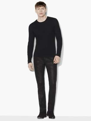 John Varvatos Long Sleeve Crewneck With Contrast Linking & Suede