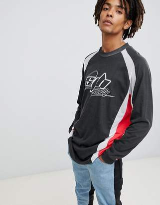 Asos DESIGN relaxed longline long sleeve rally t-shirt with mesh panels