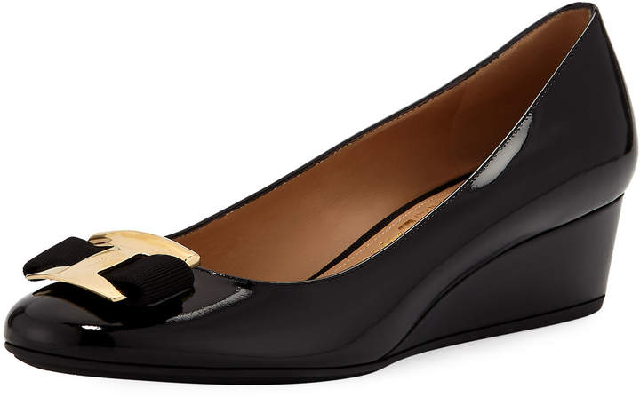 Salvatore Ferragamo Nina Patent Leather Bow Wedge Pumps