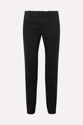 Nili Lotan French Military Cropped Stretch-cotton Twill Slim-leg Pants - Black