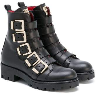 Cesare Paciotti Kids buckled combat boots