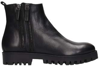Julie Dee Black Leather Ankle Boots