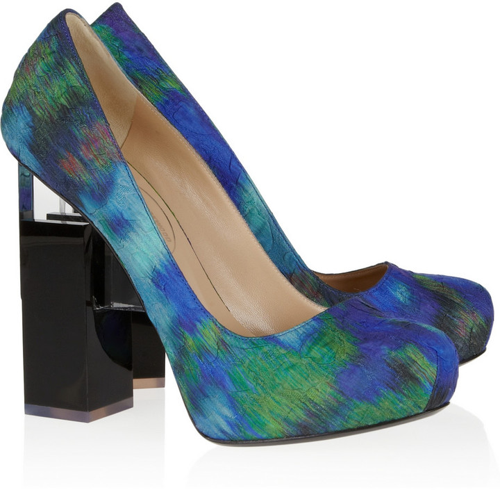 Nicholas Kirkwood for Erdem Geometric-heel printed silk-covered leather pumps