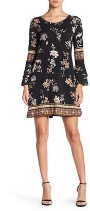 Angie Bell Sleeve Print Mini Swing Dress
