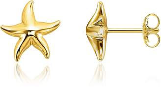 Thomas Sabo Gold Plated Sterling Silver Starfish Earrings w/White Zirconia