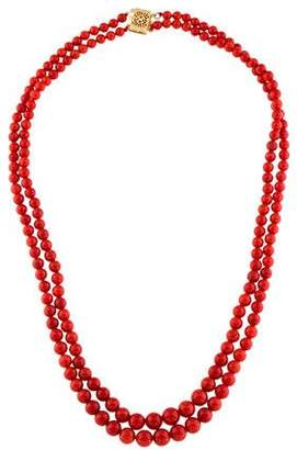14K Double Strand Coral Bead Necklace
