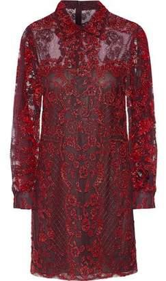 Valentino Bead-Embellished Tulle Mini Dress