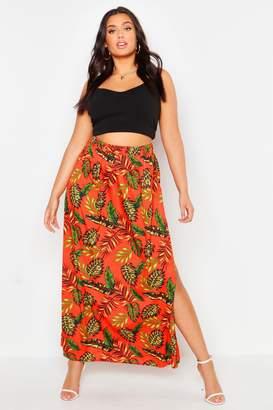 boohoo Plus Palm Print Floor Sweeping Maxi Skirt