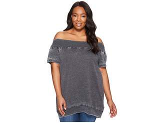 Allen Allen Plus Size Short Sleeve Off the Shoulder Crew Women's Clothing