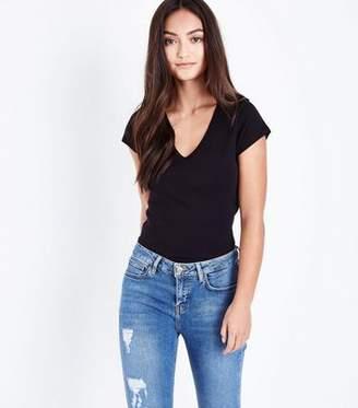 New Look Petite Black V Neck T-Shirt
