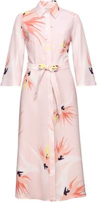 Undress Flora Pastel Floral Printed Midi Shirt Dress