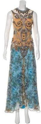 Montelliana Silk Sleeveless Beaded Maxi Dress