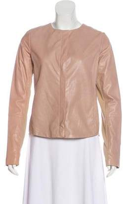 Vince Mesh-Accented Leather Jacket