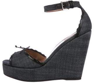 Alaia Denim Platform Wedges