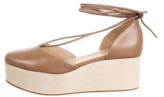 Brunello Cucinelli Leather Wrap-Around Wedges