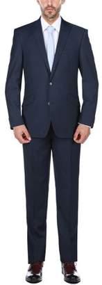 Rivelino Men's Cobalt Blue Micro-Stripe Slim Fit Wool Two Piece Suit