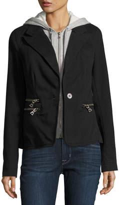 Raison D'etre Cotton Blazer w/ Removable Dickey, Black $145 thestylecure.com