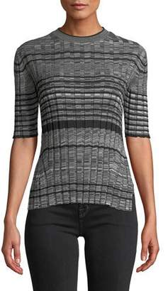 Helmut Lang Striped Wool Short-Sleeve Crewneck Sweater