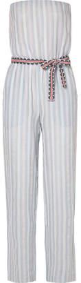 Lemlem Nefasi Striped Cotton-blend Gauze Jumpsuit - Sky blue