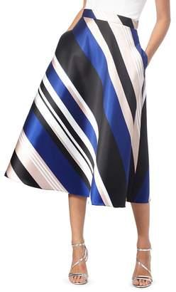 Debut Bright Blue Striped Midi Skirt
