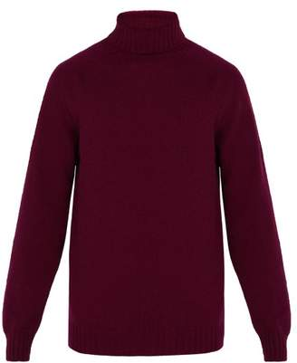 Officine Generale High Neck Seamless Wool Sweater - Mens - Burgundy