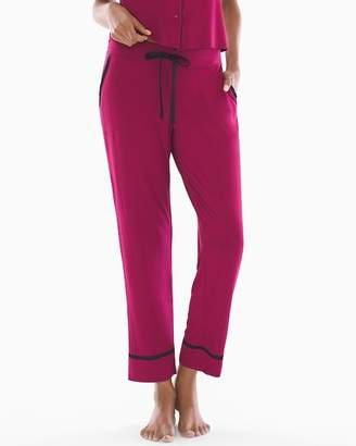 Cool Nights Satin Trim Ankle Pajama Pants Cranberry