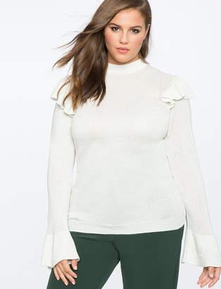 ELOQUII Ruffle Shoulder Sweater
