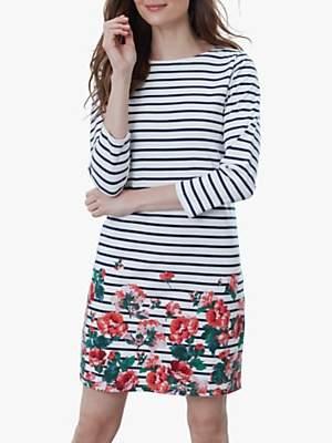 Joules Riviera Floral Stripe Jersey Dress, Cream Rose Border
