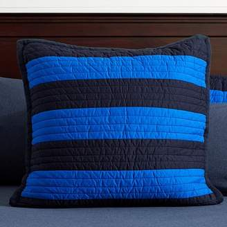 Pottery Barn Teen Rugby Stripe Reversible Sham, Navy/Bright Blue, Euro