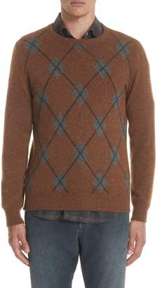 Eleventy Argyle Cashmere Crewneck Sweater