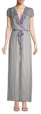 Gabby Skye Plus Ruffle Trimmed Stripe Jumpsuit