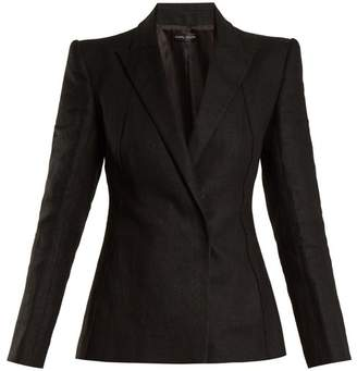Carl Kapp - Masera Peak Lapel Linen Jacket - Womens - Black