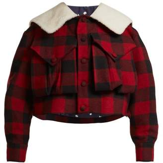 Charles Jeffrey Loverboy - Check Shearling Collar Cropped Jacket - Womens - Red Multi