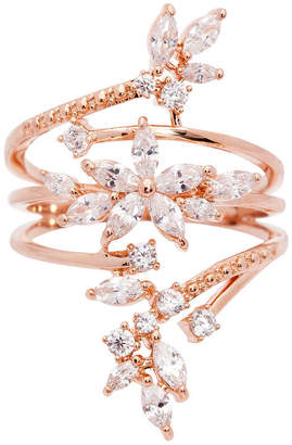 clear SPARKLE ALLURE Sparkle Allure Sparkle Allure Womens 14k Rose Gold Over Brass Cocktail Ring