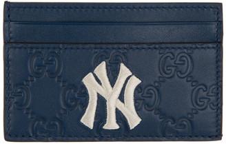 Gucci Navy NY Yankees Edition GG Card Holder