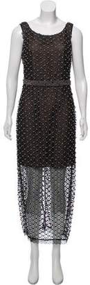 Marchesa Embellished Metallic Dress