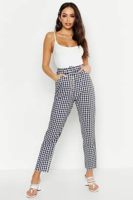 boohoo Gingham Check Button Front Pants