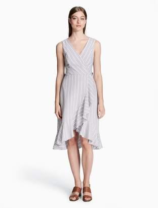 Calvin Klein striped v-neck ruffle hem high-low dress