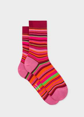 Paul Smith Women's Burgundy Socks With Multi-Coloured Stripes
