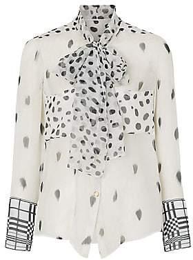 Burberry Women's Dalmatian Print Tie-Neck Blouse