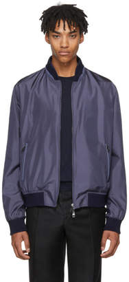 Brioni Navy Silk Bomber Jacket