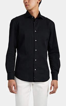Barneys New York Men's Washed Cotton Twill Shirt - Black