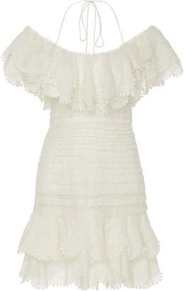 Zimmermann Ruffled Off-The-Shoulder Linen-Blend Mini Dress Size: 2