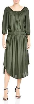 Halston Satin Scoop-Neck Ruched Dress